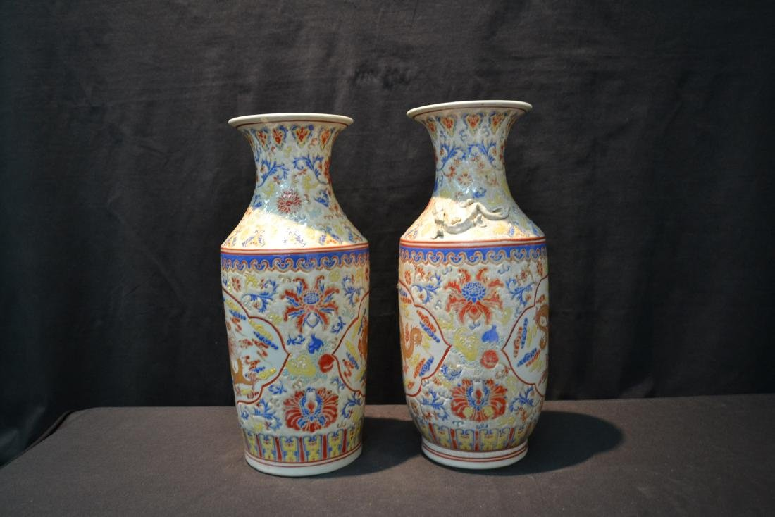 (2) CHINESE PORCELAIN VASES WITH DRAGON - 5