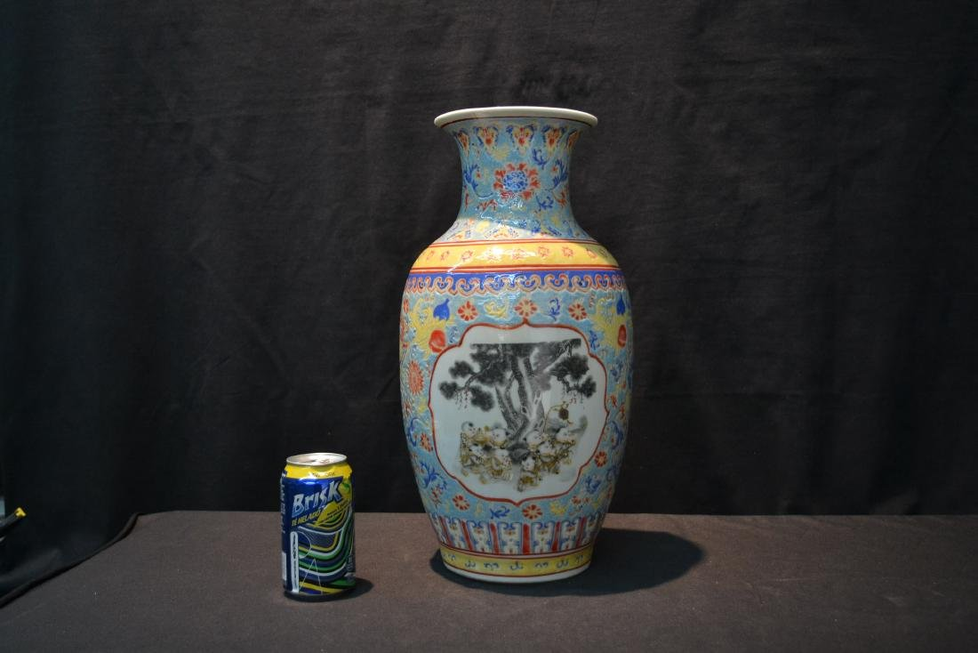 CHINESE PORCELAIN VASE WITH CHILDREN MEDALIONS - 6