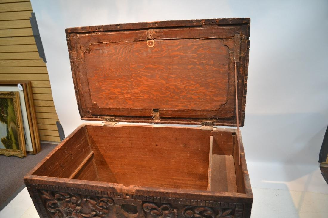 LARGE 18thC - 19thC HEAVILY CARVED DOWRY CHEST - 10