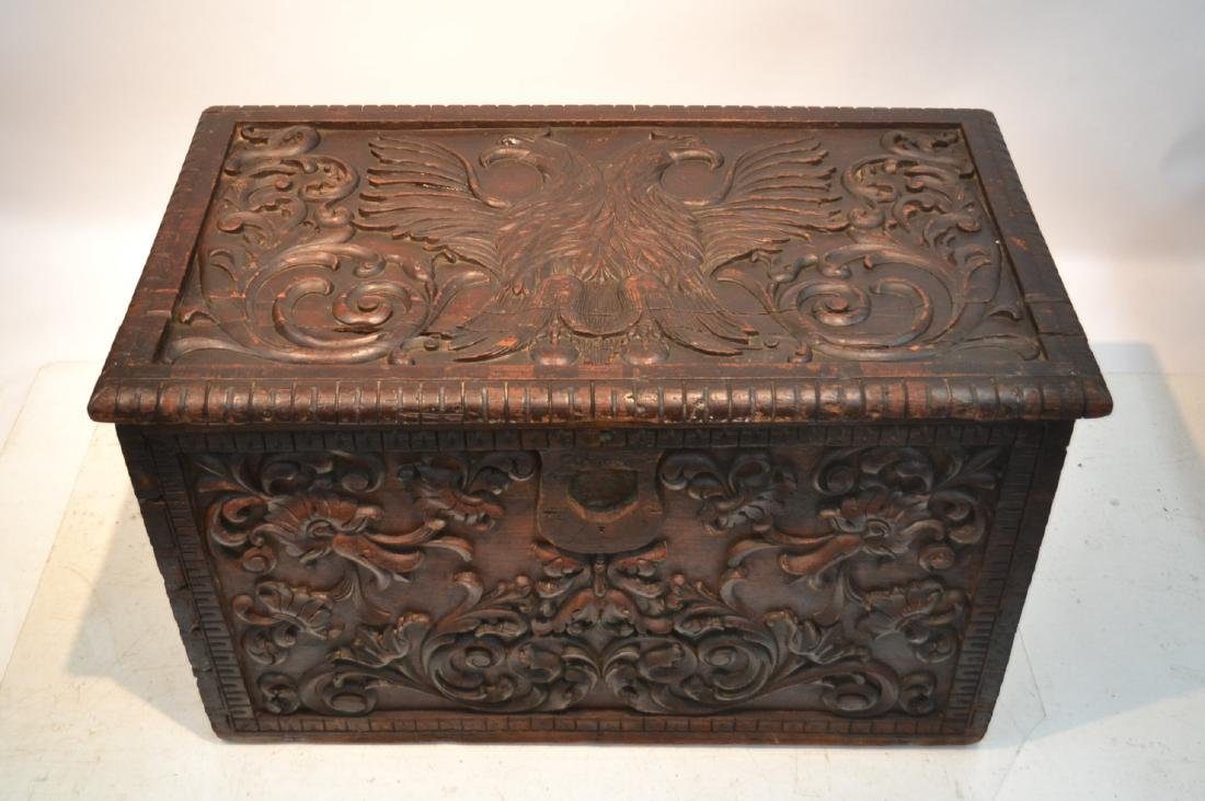 LARGE 18thC - 19thC HEAVILY CARVED DOWRY CHEST