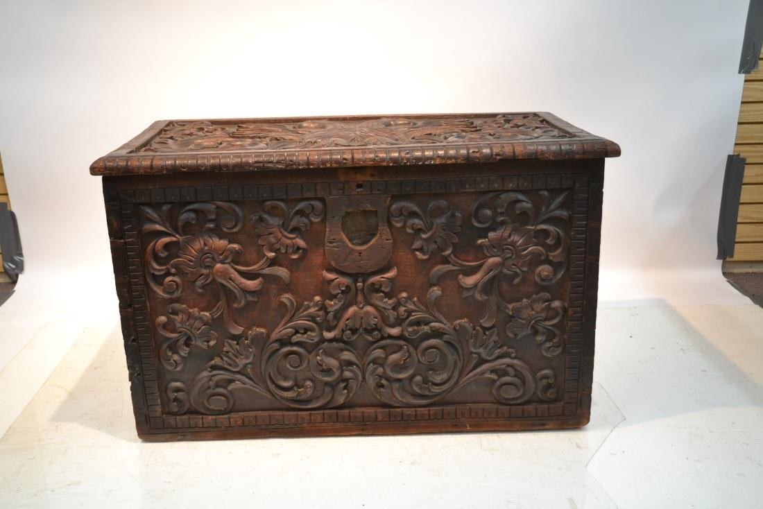 LARGE 18thC - 19thC HEAVILY CARVED DOWRY CHEST - 2