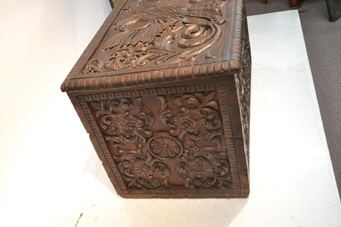 LARGE 18thC - 19thC HEAVILY CARVED DOWRY CHEST - 3