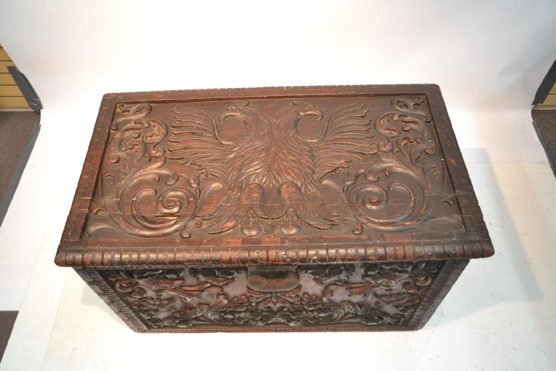 LARGE 18thC - 19thC HEAVILY CARVED DOWRY CHEST - 4