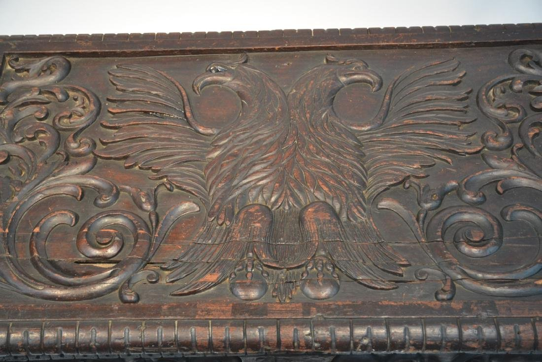LARGE 18thC - 19thC HEAVILY CARVED DOWRY CHEST - 5