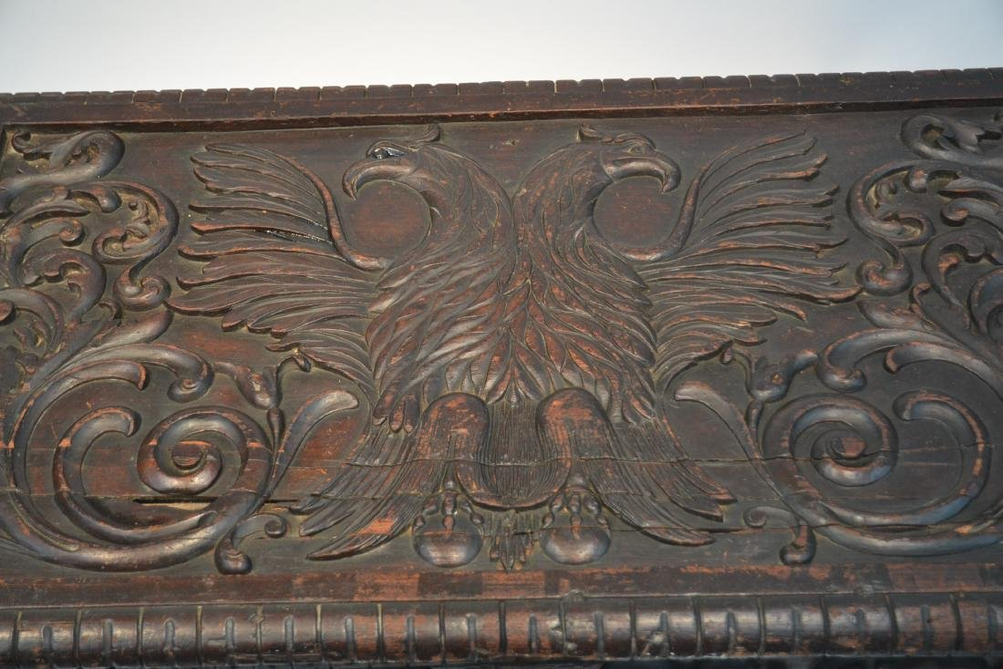 LARGE 18thC - 19thC HEAVILY CARVED DOWRY CHEST - 6