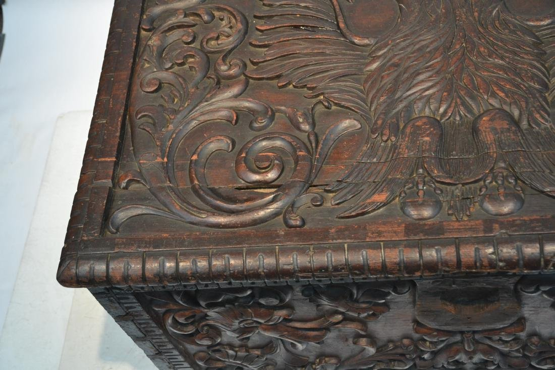 LARGE 18thC - 19thC HEAVILY CARVED DOWRY CHEST - 7