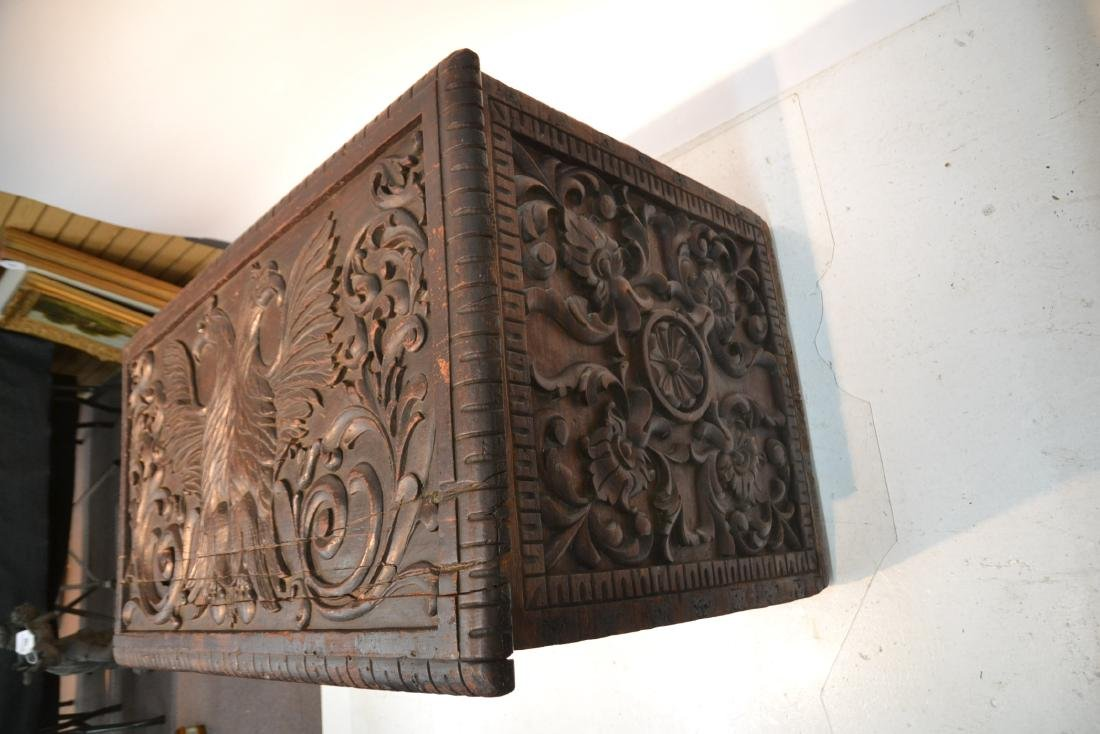 LARGE 18thC - 19thC HEAVILY CARVED DOWRY CHEST - 8