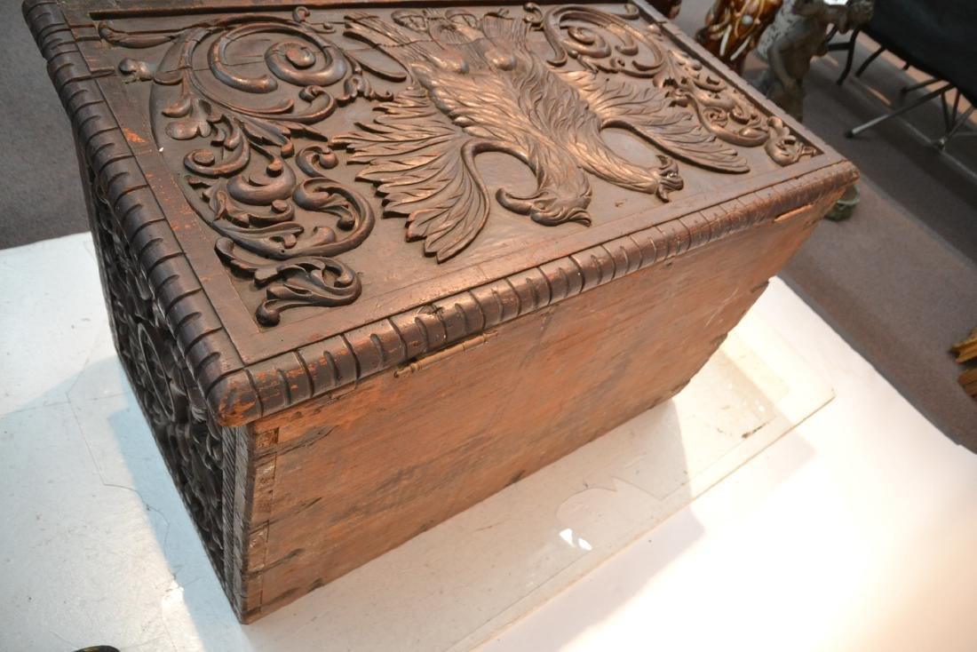 LARGE 18thC - 19thC HEAVILY CARVED DOWRY CHEST - 9
