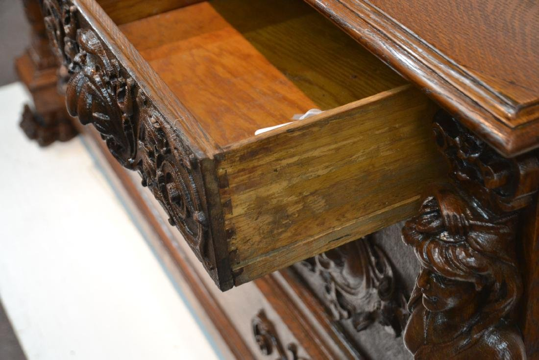 LARGE HEAVILY CARVED TIGER OAK SIDEBOARD - 10