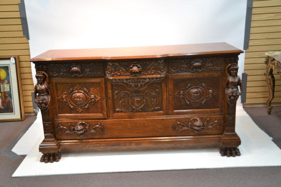LARGE HEAVILY CARVED TIGER OAK SIDEBOARD - 2