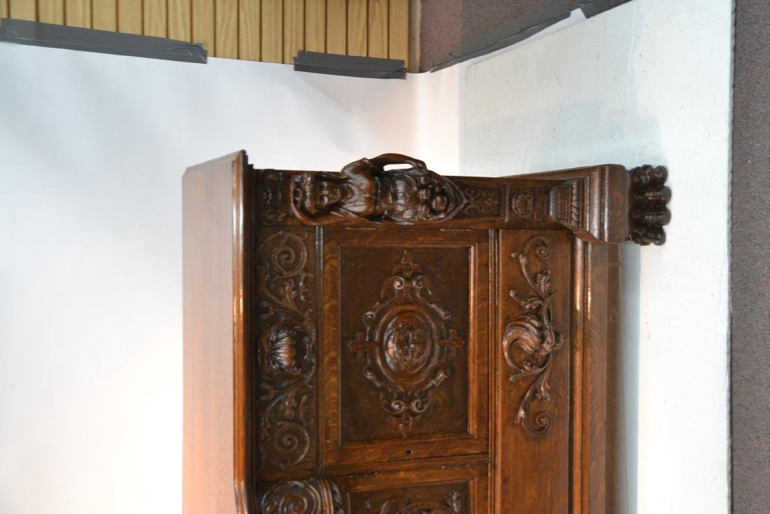 LARGE HEAVILY CARVED TIGER OAK SIDEBOARD - 3