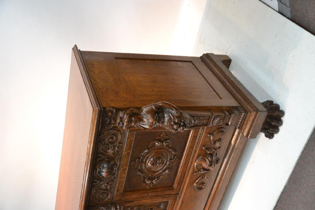 LARGE HEAVILY CARVED TIGER OAK SIDEBOARD - 4