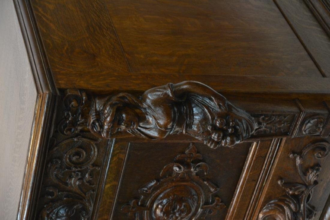 LARGE HEAVILY CARVED TIGER OAK SIDEBOARD - 5