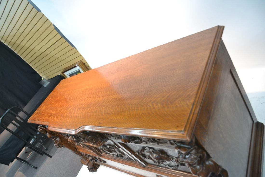 LARGE HEAVILY CARVED TIGER OAK SIDEBOARD - 6