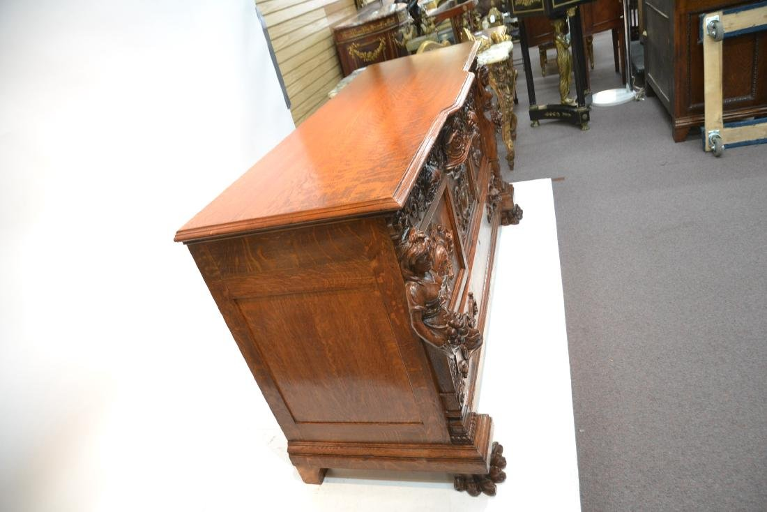 LARGE HEAVILY CARVED TIGER OAK SIDEBOARD - 7