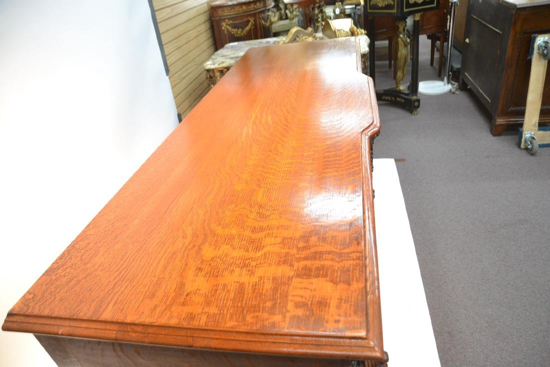 LARGE HEAVILY CARVED TIGER OAK SIDEBOARD - 8