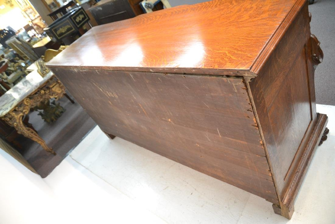 LARGE HEAVILY CARVED TIGER OAK SIDEBOARD - 9