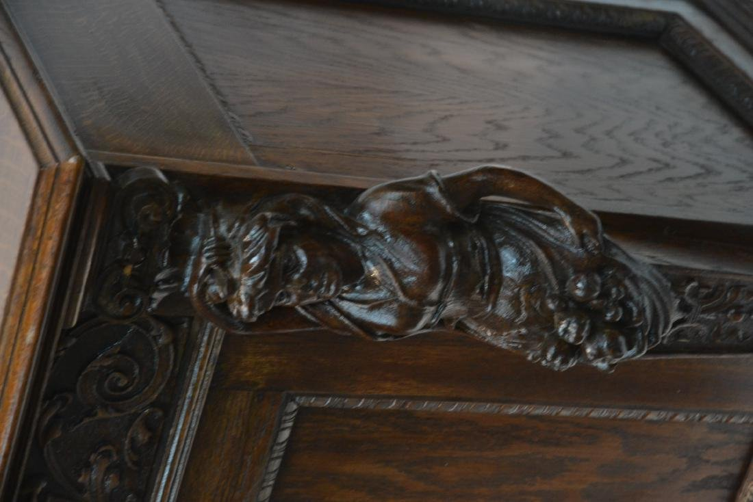 HEAVILY CARVED TIGER OAK SERVER WITH - 4