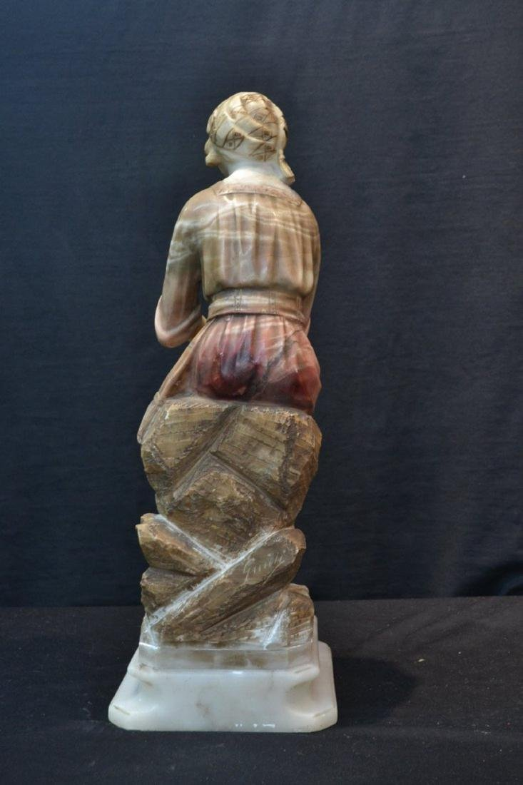 MULTI TONE ALABASTER GIRL SEATED ON ROCKS - 10