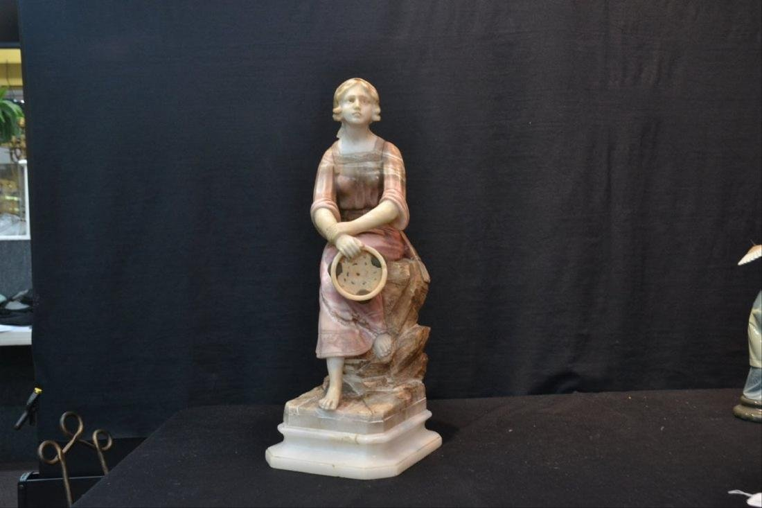 MULTI TONE ALABASTER GIRL SEATED ON ROCKS - 3