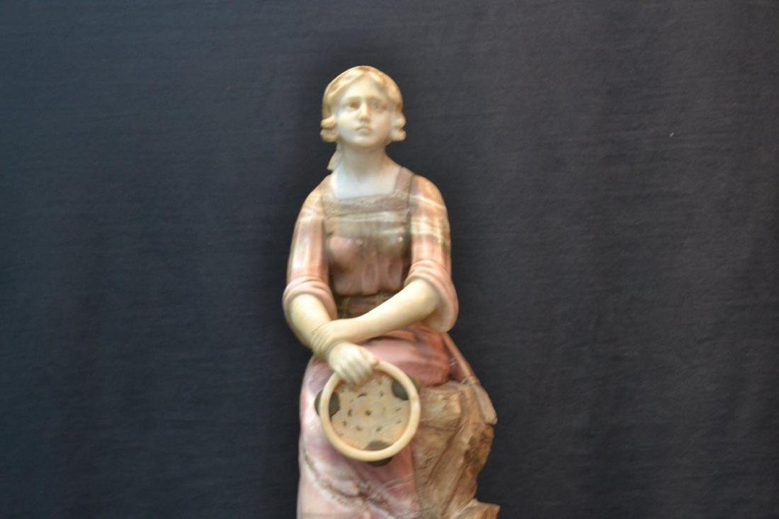 MULTI TONE ALABASTER GIRL SEATED ON ROCKS - 4