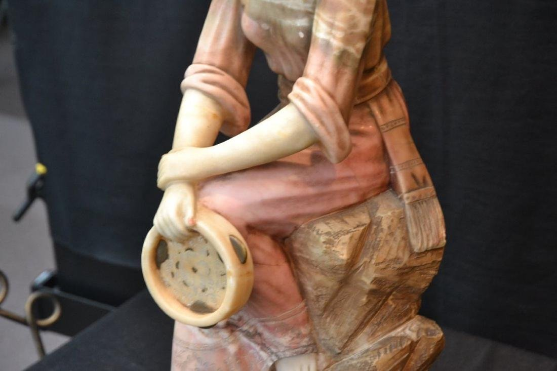 MULTI TONE ALABASTER GIRL SEATED ON ROCKS - 7