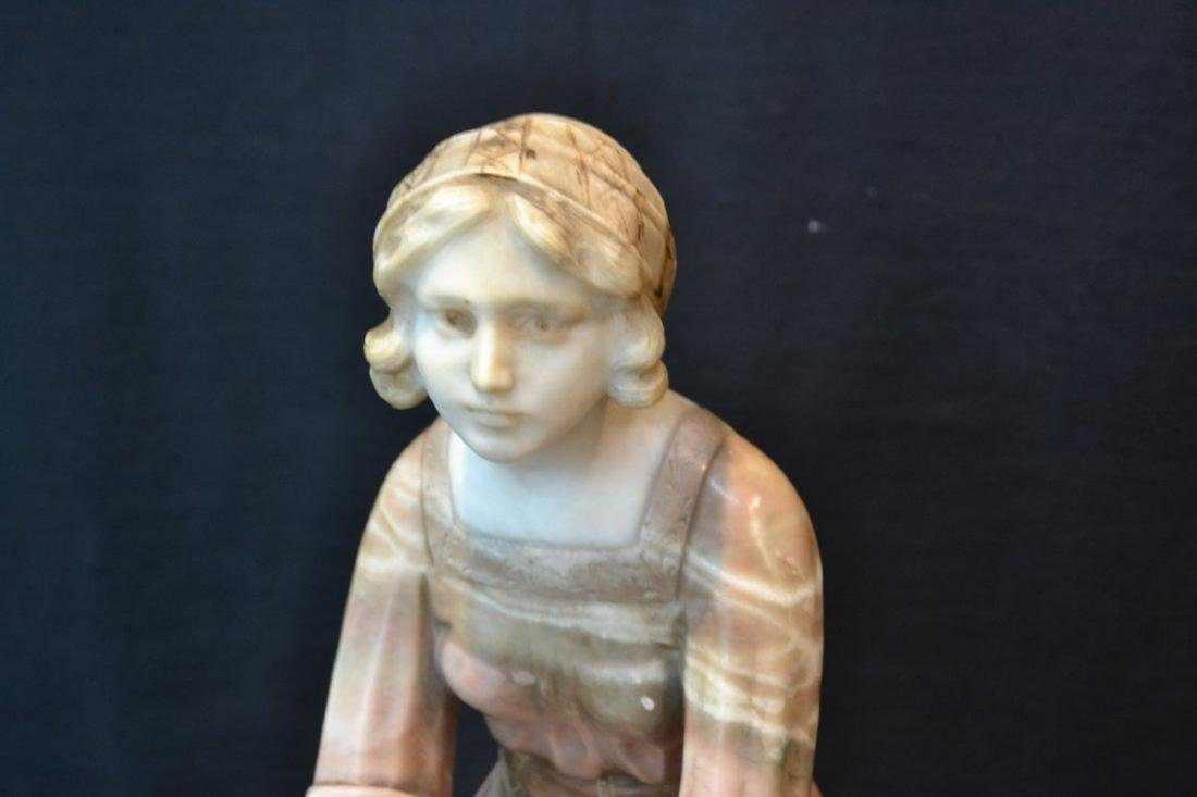 MULTI TONE ALABASTER GIRL SEATED ON ROCKS - 9