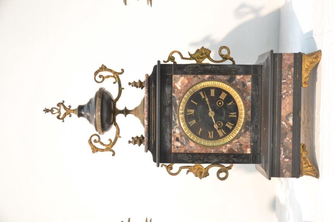 (3)pc 2-TONE MARBLE & BRONZE CLOCK SET - 3