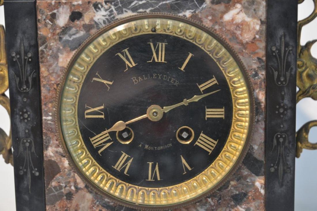 (3)pc 2-TONE MARBLE & BRONZE CLOCK SET - 5