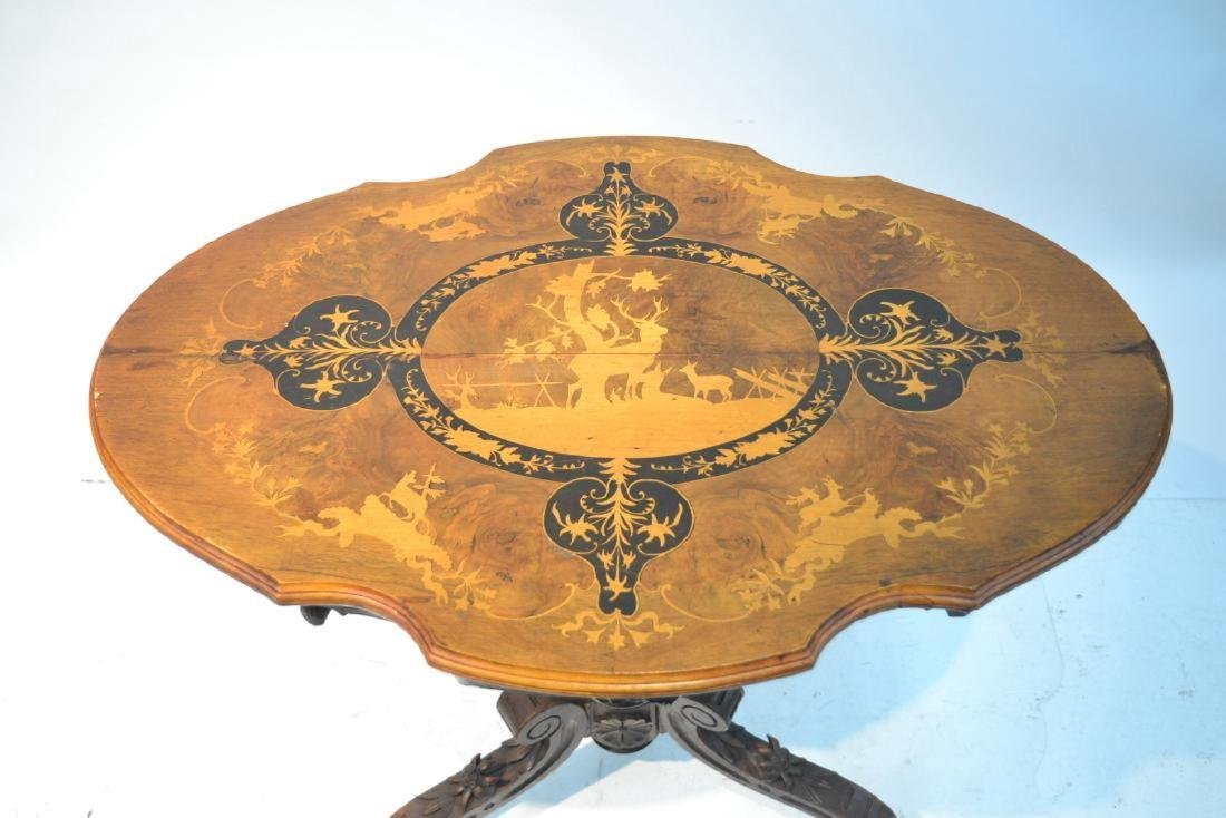19thC BLACK FOREST TILT TABLE WITH INLAID DEER - 8