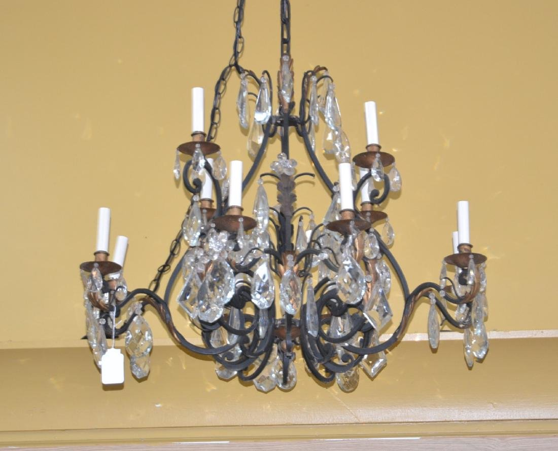 12-LIGHT WROUGHT IRON & CRYSTAL CHANDELIER