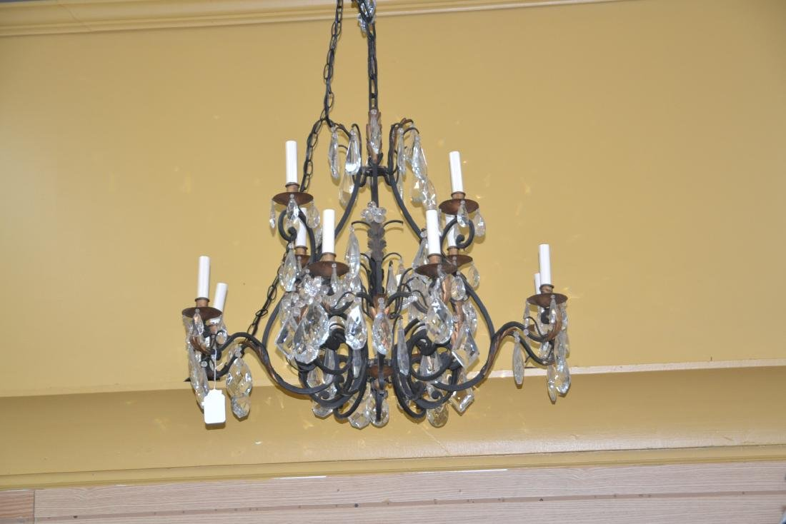 12-LIGHT WROUGHT IRON & CRYSTAL CHANDELIER - 2