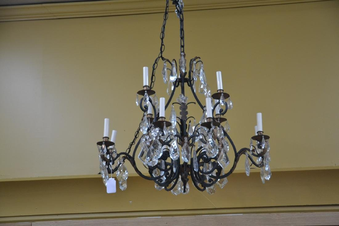 12-LIGHT WROUGHT IRON & CRYSTAL CHANDELIER - 3