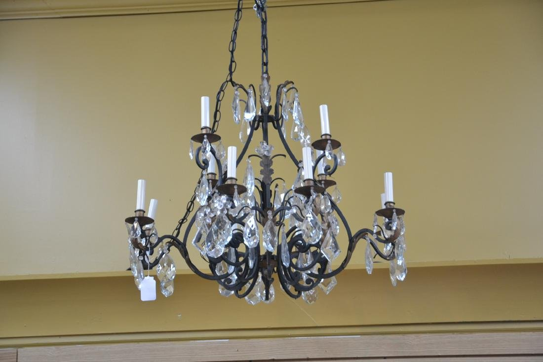 12-LIGHT WROUGHT IRON & CRYSTAL CHANDELIER - 4
