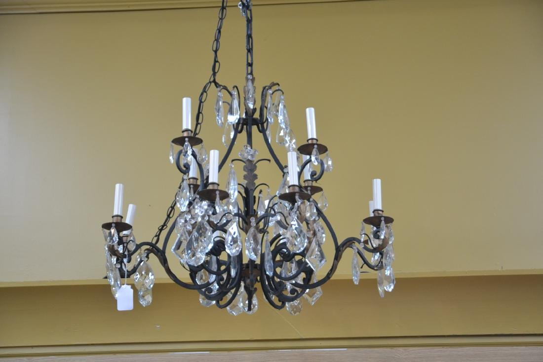 12-LIGHT WROUGHT IRON & CRYSTAL CHANDELIER - 5