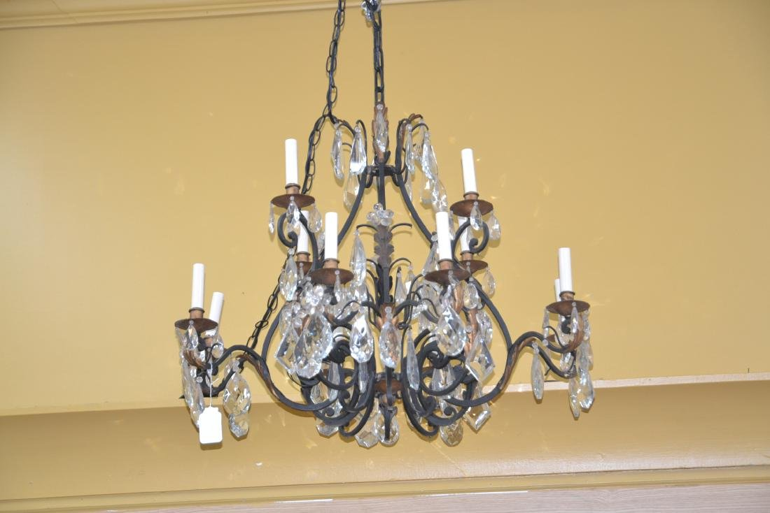 12-LIGHT WROUGHT IRON & CRYSTAL CHANDELIER - 6