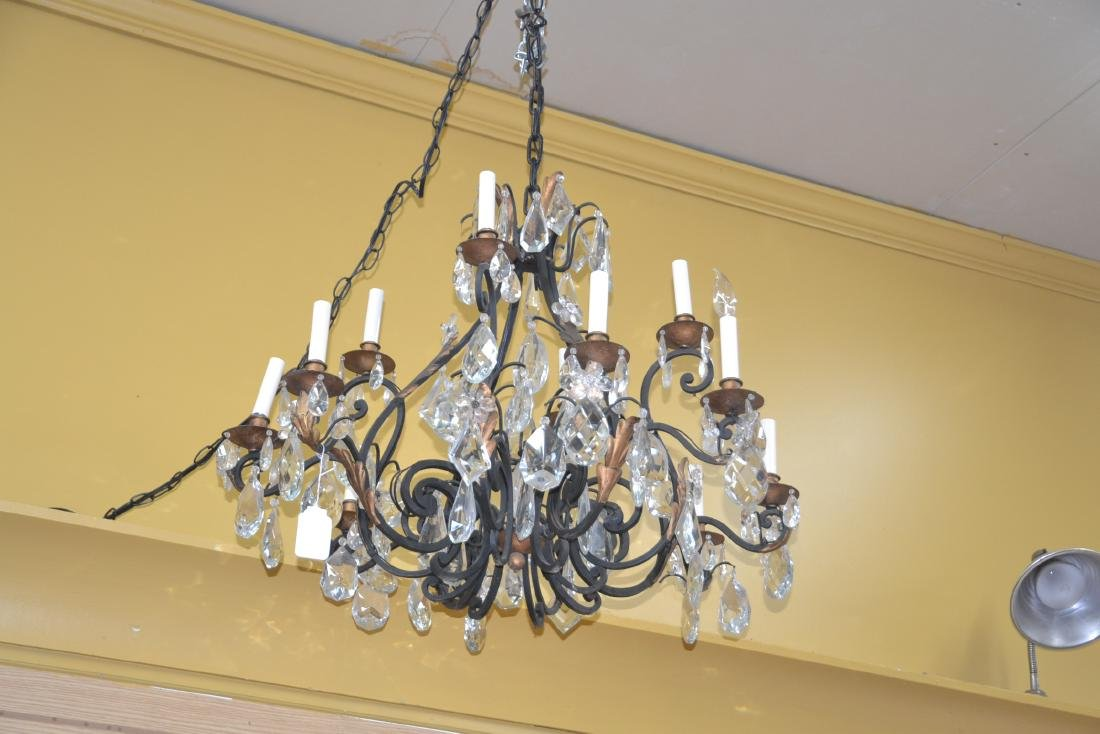 12-LIGHT WROUGHT IRON & CRYSTAL CHANDELIER - 7