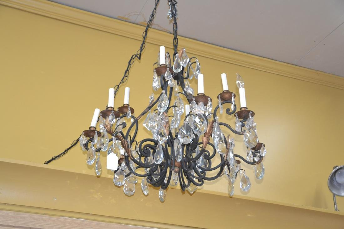 12-LIGHT WROUGHT IRON & CRYSTAL CHANDELIER - 8