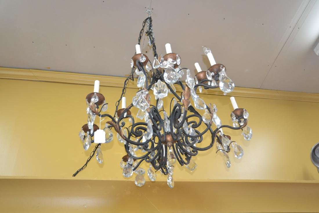 12-LIGHT WROUGHT IRON & CRYSTAL CHANDELIER - 9
