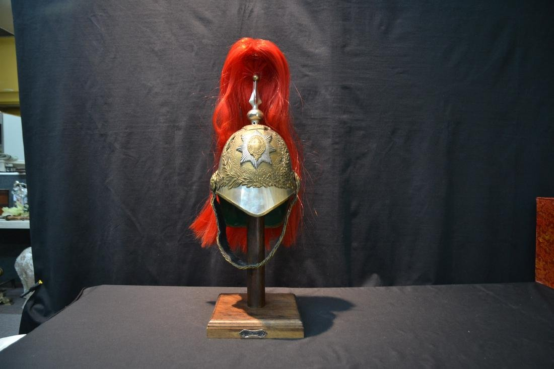 INDIAN IMPERIAL HELMET ON STAND WITH STAR & CROSS - 10