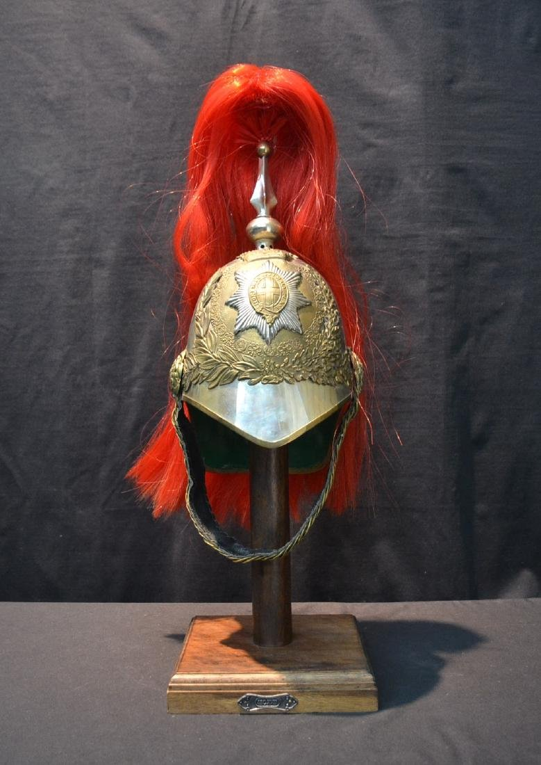 INDIAN IMPERIAL HELMET ON STAND WITH STAR & CROSS