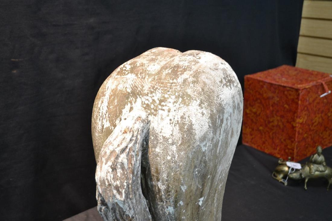 CARVED FOLK ART WOOD HORSES ASS ; MARKED WHISKI - 2
