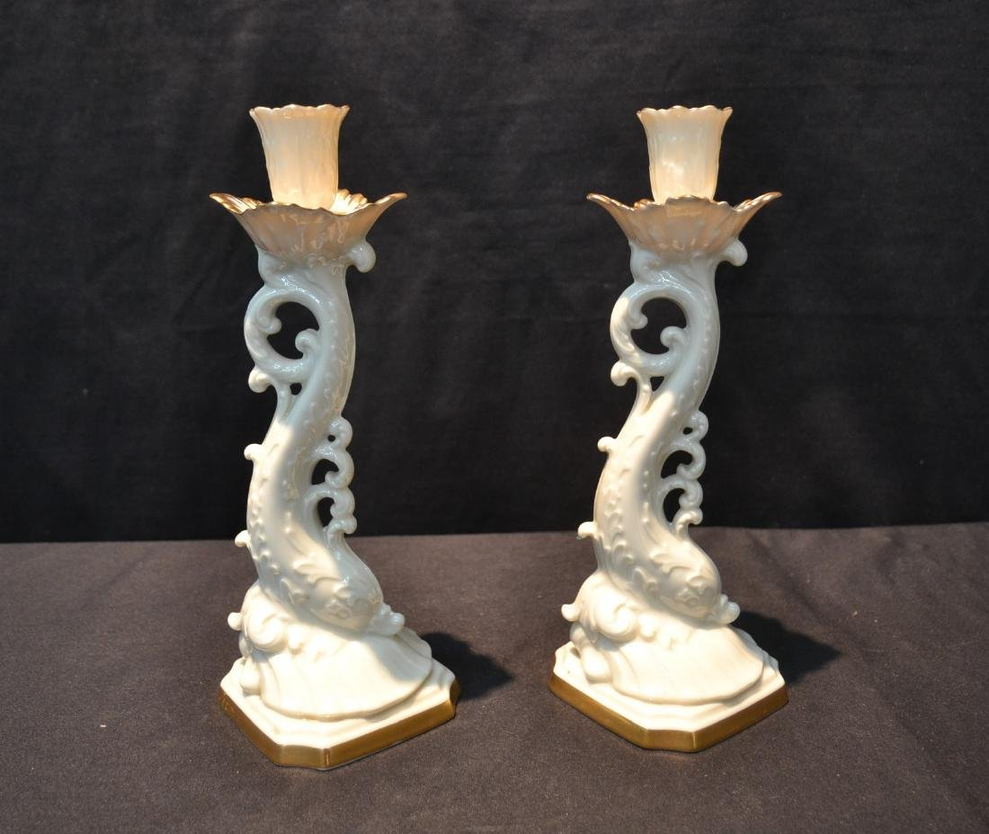 (Pr) LENOX DOLPHIN FORM CANDLE STICKS