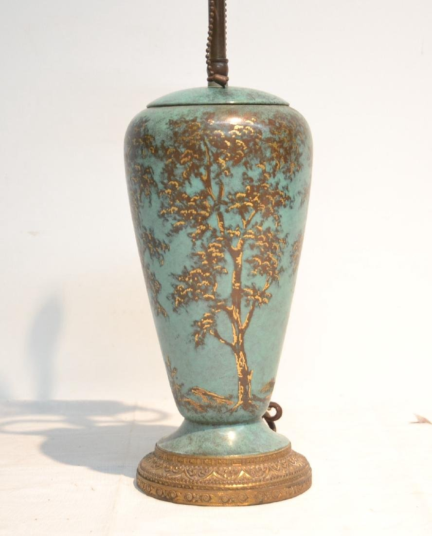 COLD PAINTED COPPER VASE LAMP WITH