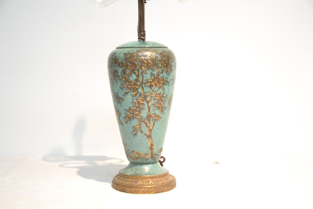 COLD PAINTED COPPER VASE LAMP WITH - 6
