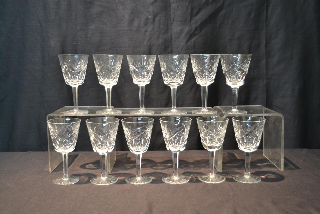 "(12) WATERFORD ""ASHLING"" PATTERN WINE GLASSES - 8"