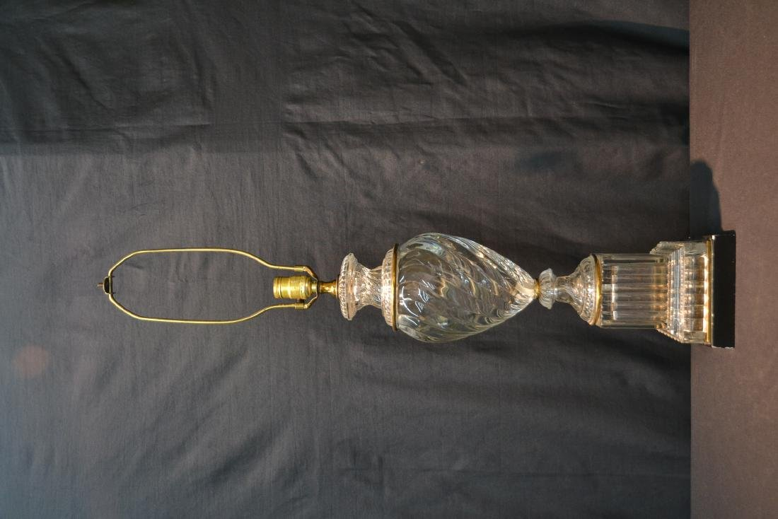 BACCARAT ? SWIRL GLASS LAMP WITH BRONZE MOUNTS - 2