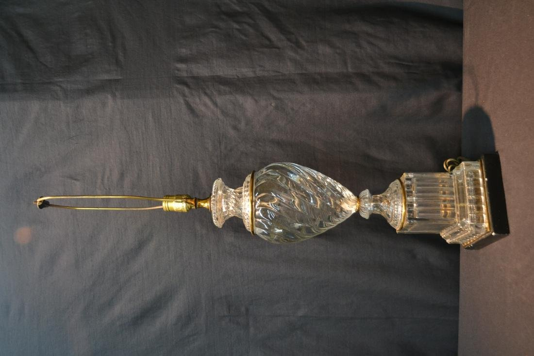 BACCARAT ? SWIRL GLASS LAMP WITH BRONZE MOUNTS - 4