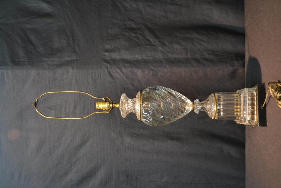 BACCARAT ? SWIRL GLASS LAMP WITH BRONZE MOUNTS - 5