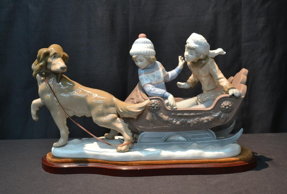 LARGE LLADRO SLEIGH RIDE DEPICTING